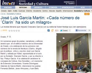 Noticia de LNE de la presentación de los 100 números de Clarín